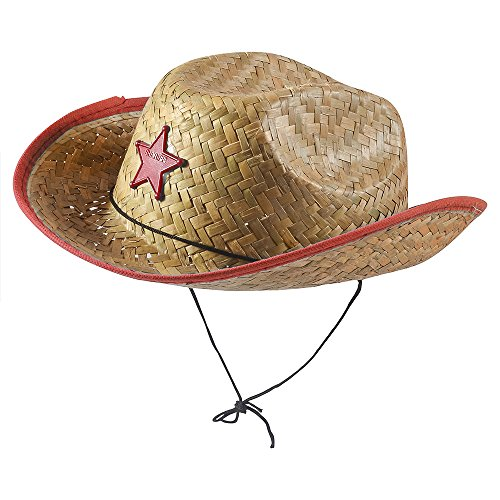 Red Straw Sheriff Hat Accessory