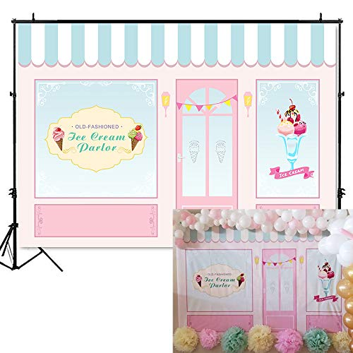 Mehofoto Ice Cream Parlor Shop Backdrop Pink Blue Kid Child Birthday Photography Background 7x5ft Vinyl Ice Cream Themed Birthday Party Banner Event ()