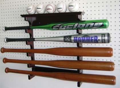 5 Baseball Bat Hanger Display Rack Holder, Solid Wood, Good Alternative to Display Case, (Mahogany Finish) by DisplayGifts