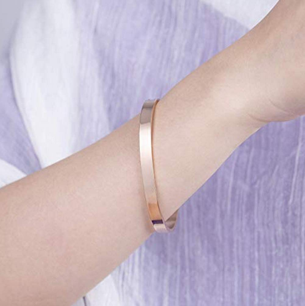 Best Friends Bracelet Sister Jewelry -Not Sisters by Blood But Sisters by Heart-Stainless Steel Friendship Bracelets Cuff Bangle Gifts for Women Girls (Rose Gold1)