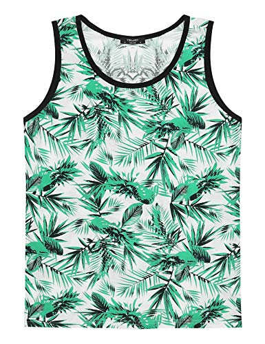 Coofandy Men's All-Over Print Tank Top Slim Fit Sleeveless T-Shirt, Green, X-Large