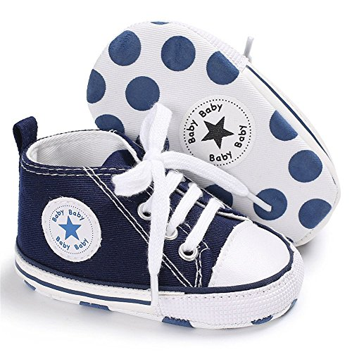 Blue Toddler Baby Footwear (Isbasic Baby Boy Girl Canvas High Top Sneakers Infant Toddler Soft Sole First Walkers Shoes(Blue 12-18 Months))