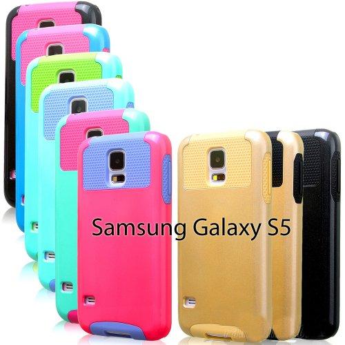 myLife (TM) Dark Black - Free Flex Series (2 Layer Neo Hybrid) Slim Armor Case for the NEW Galaxy S5 (5G) Smartphone by Samsung (External Rubberized Hard Shell Flex Piece + Internal Soft Silicone Flexible Bumper Gel)