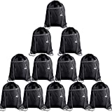 KUUQA 12Pcs Drawstring Backpack Bags with Zipper Pocket and Headphone Hole Sports Gym Cinch Sackpack String Tote Bag Bulk for School Yoga Sport Gym Traveling