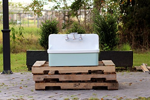 Depth Kohler Bath Sink - Vintage Style High Back Farm Sink Apron Kitchen Utility Sink Package Vitreous China Kohler Gilford – Green Blue