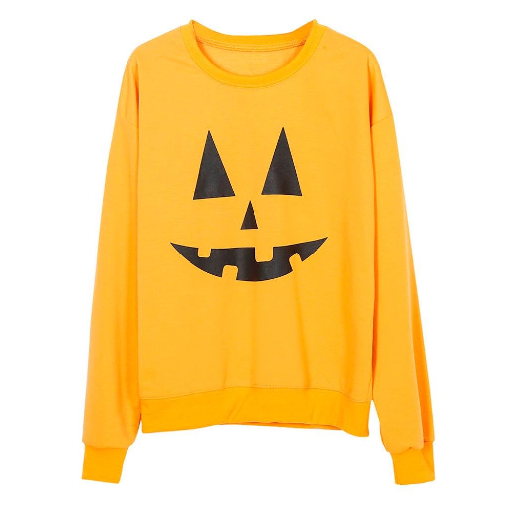 Gotd Mother and Baby Clothes Long Sleeve Sweatshirt T-shirt Tops Blouse Parent-Child Halloween Yellow (M, Mother)