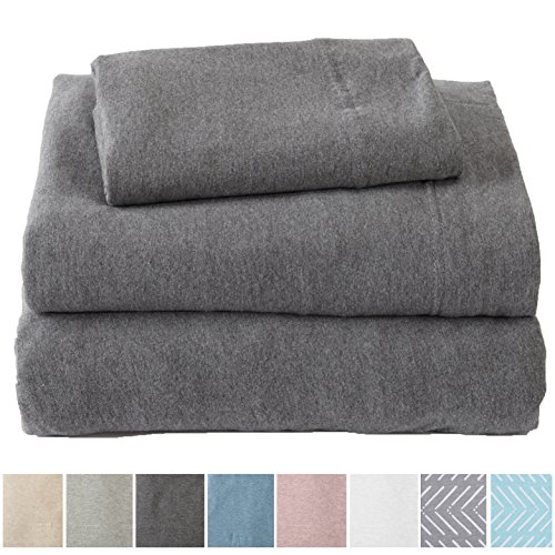 Great Bay Home Extra Soft Heather Jersey Knit (T-Shirt) Cotton Sheet Set. Soft, Comfortable, Cozy All-Season Bed Sheets. Carmen Collection Brand. (Twin, Charcoal)