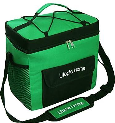 16 Quart Insulated Cooler Bag with Adjustable Shoulder Strap - Front Pocket and Side Pocket - Utopia Home