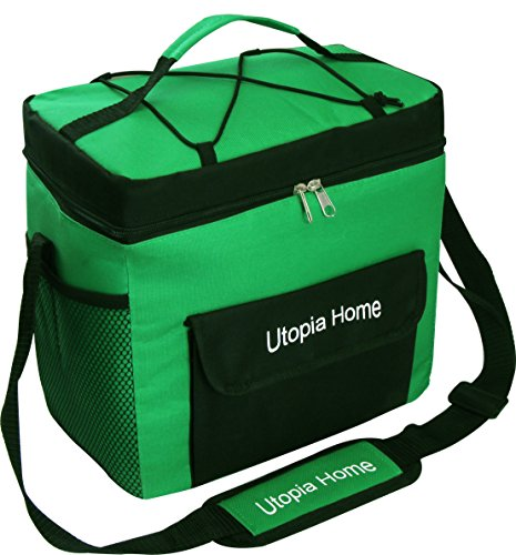 Price comparison product image 16 Quart Insulated Cooler Bag with Adjustable Shoulder Strap - Front Pocket and Side Pocket - Utopia Home