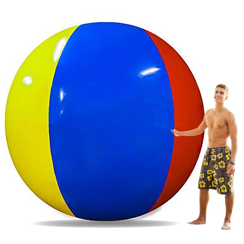Popsport 6 Feet Tall Beach Ball Inflatable Soccerball 12FT Pole-to-Pole Inflatable Beach Ball Pool Party Balls for Adults and Kids (180cm Beach Ball) by Happibuy (Image #1)