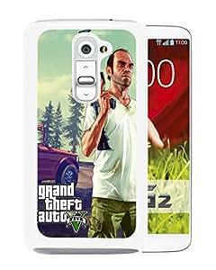 AZE Beautiful Fashion Grand Theft Auto V White Case Cover For LG G2