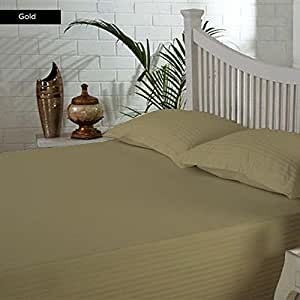 Sábana bajera 100% algodón egipcio de 400TC 1piezas 27cm de profundidad bolsillo UK tamaño super king Color Dorado Patrón De Rayas