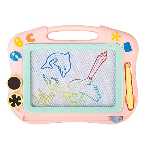 asika Magnetic Drawing Board for Kids & Toddlers, Erasable Colorful Magna Doodle Toys Writing Sketching Pad with 1 Pen & 2 Stamps, Travel Size (Pink)