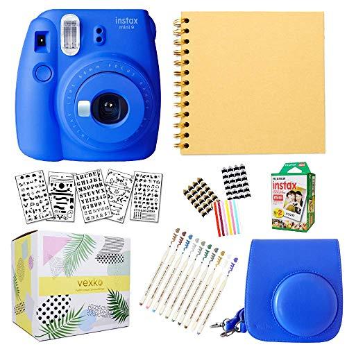 Fujifilm Instax Mini 9 Instant Camera (Cobalt Blue) + Fuji INSTAX Film (20 Sheets) + Bundle with: Groovy Camera Case + Scrapbook Photo Album + Stencils + Metallic Markers + Photo Corners
