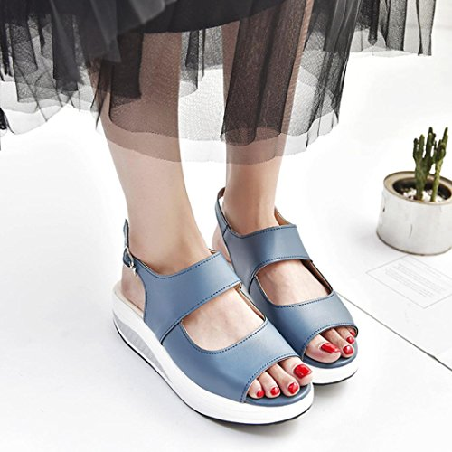 Women Platform Shoes,Hemlock Wedges Sandals Fish Mouth Thick Bottom High Heel Shoes Boots (US:6, Blue) ()