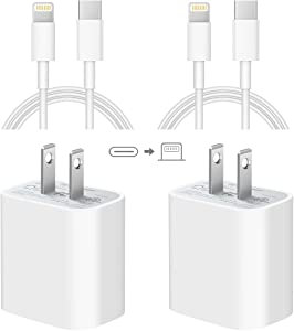 iPhone Fast Charger [ Apple MFi Certified ] 20W USB C Power Adapter Fast Charger with 6ft Type C to Lightning Charger Cable Compatible with iPhone 12/12Pro/11/11Pro/Xs Max/XR/X,iPad and More - 2 Pack
