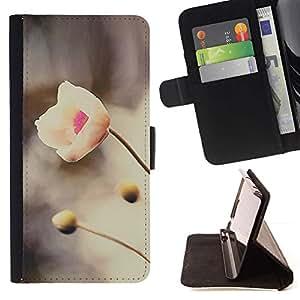 For HTC One M7 Case , Río Primavera Flor de Nieve Naturaleza Pétalo- la tarjeta de Crédito Slots PU Funda de cuero Monedero caso cubierta de piel