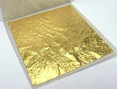 "Thai Tradition Gold Leaf 24 Karat 999/1000 Pure Gold 1.5"" x 1.5"" For Buddhist worship, Arts & Crafts, Decoration, Metal Working, Health & Beauty, Spa, Foods & Bakery Decoration, Edible 10 Pcs"