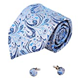 A2066 Dark Grey Patterned Royal Blue Christmas Day Presents Idea One Size Silk Ties Cufflinks Set 2PT By Y&G