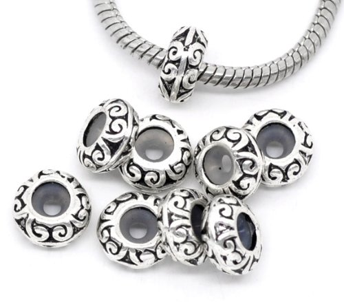 PEPPERLONELY Brand 10PC Antique Silver Pattern Stoppers W/Rubber Beads Fit European Bracelet 7/16 x 3/16 Inch (11MM x 5MM)