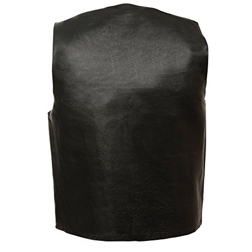 M-BOSS MOTORCYCLE APPAREL-BOS13513-BLACK-Men's Basic concealed carry biker leather vest.-BLACK-40 by M-BOSS MOTORCYCLE APPAREL (Image #2)