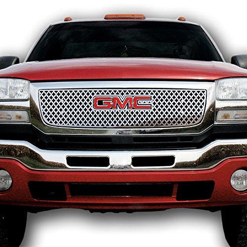 Ferreus Industries Grille Insert Guard Mesh Punch Polished Stainless fits 2003-2006 GMC Sierra TRK-131-04-Chrome-a