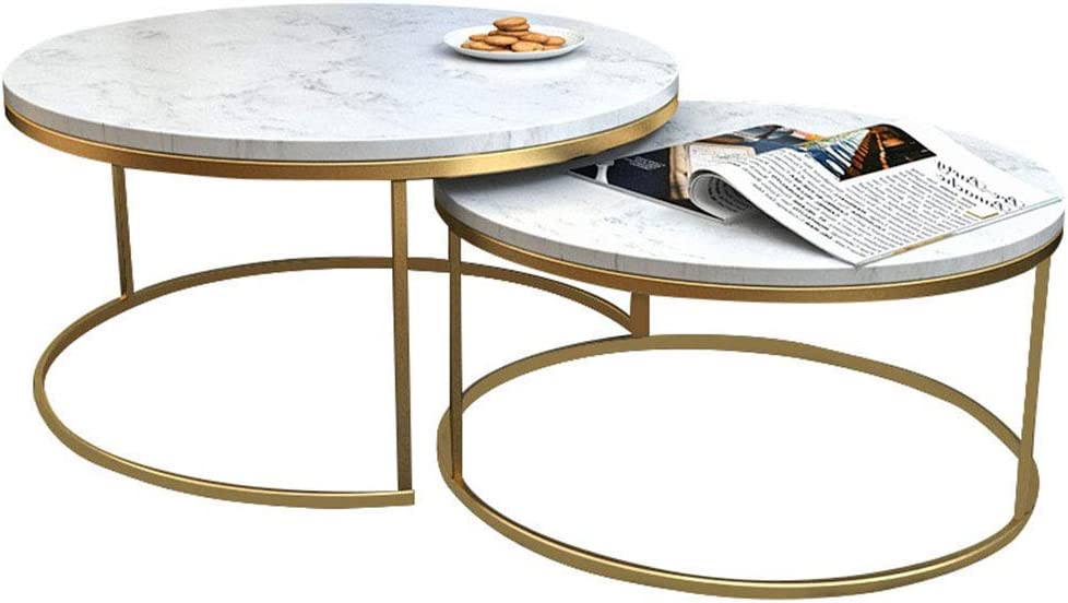 NMDCDH Tables Home Décor Furniture 2-Piece Modern Stackable Nesting Coffee Accent End Table with Marble Top & Metal Base Living Room Furniture Lounge Set - Gold Living Room or Lounge