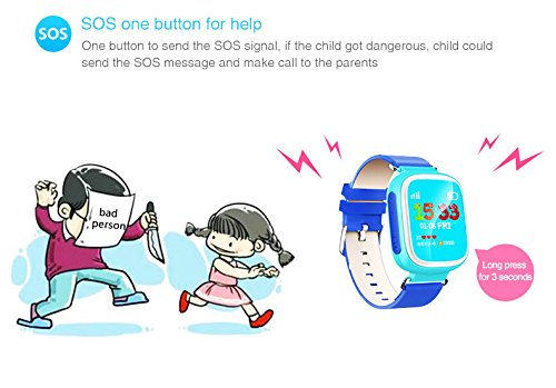 GPS Kids Tracker Smart Watch LY ANT Waterproof Smartwatch Phone with Anti-lost Alarm Remote Monitor SOS Calls Support Android IOS (Blue)