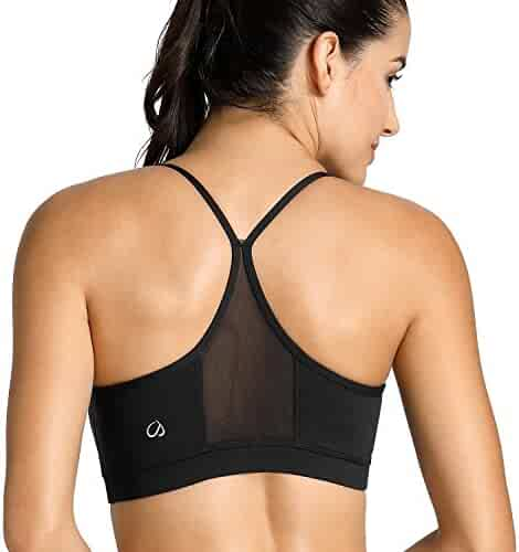 6bca716e9b0c3 CRZ YOGA Women s Light Support Mesh Yoga Bras with Removable Cups Wirefree  Sports Bra