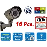 Evertech 960P 1.3MP Full HD Bullet Security Cameras with IR LED Night Vision Indoor Outdoor Surveillance Camera Manual Zoom 4 in 1 AHD TVI CVI and Traditional Analog DVR w/Free CCTV Warning Sign