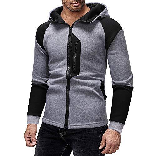 - Men Splicing Zipper Color Pullover Long Sleeve Hooded Sweatshirt Tops Blouse