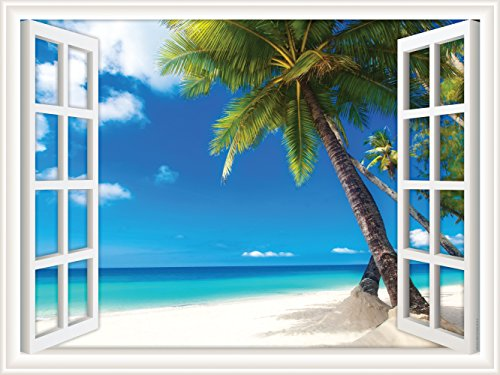 ck Wall Decal Window Views Palm Tree on White Sand Ocean Beach (12 in x 9 in) ()