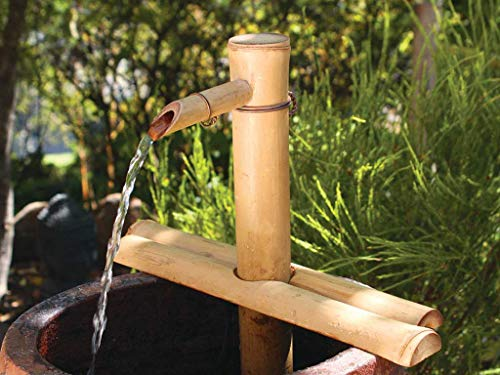 Water Kit Fountain - Bamboo Accents Water Fountain for Patio, Indoor/Outdoor, Adjustable 12-Inch Half-Round Flat Base, Smooth Split-Resistant Bamboo to Create Your Own Zen Fountain