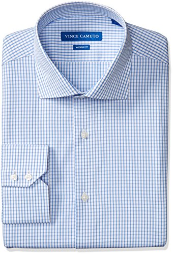 Vince Camuto Men's Modern Fit Checked Dress Shirt, Blue/White Check, 17