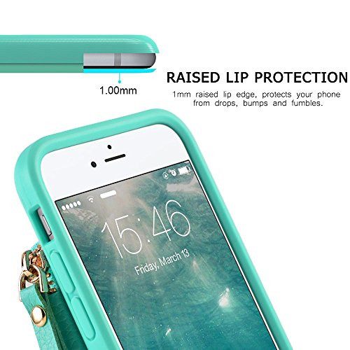 iPhone 6 Wallet Case, iPhone 6 Case with Card Holder, ZVE iPhone 6 Case with Credit Card Holder Slot & Zipper Wallet Money Pockets, Protective Cover for Apple iPhone 6 /6S 4.7 inch - Mint Green by ZVEdeng (Image #7)