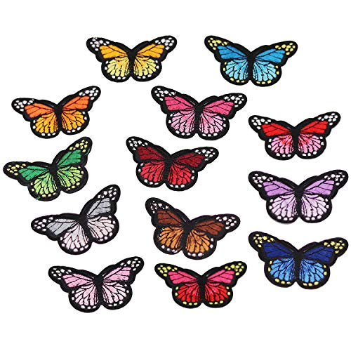 13pcs Multicolor Butterfly Iron on Patches Embroidered Motif Applique Assorted Size Decoration Sew On Patches Custom Patches for DIY Jeans,Jacket,Kids Clothing,Bag,Caps,Arts Craft (Butterfly B 13pcs)