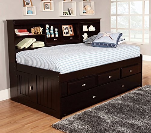 - Discovery World Furniture Bookcase Daybed with 6 Drawers, Espresso, Twin