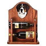 Greater Swiss Mountain Dog Wine Rack 2 Bottle Design in Dark Oak by Michael Park
