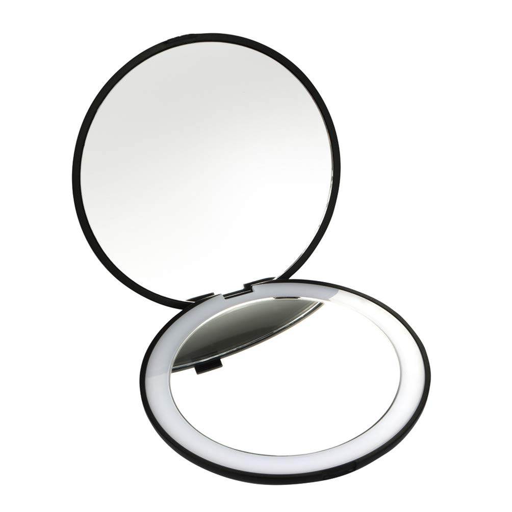 Travel Makeup Mirror Portable 10X Magnifying Lighted Makeup Mirror for Home and Travel,Compact Mirror for Purses (Black)