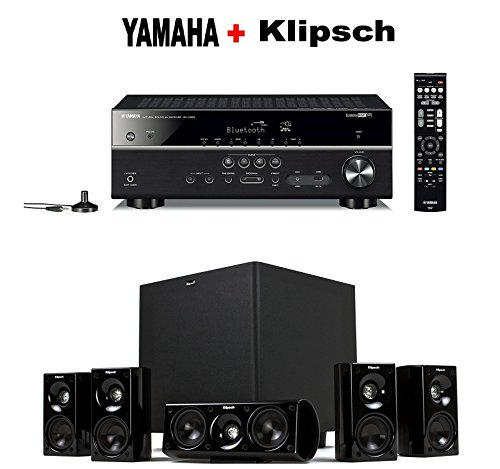 Yamaha Expandable Audio & Video Component Receiver,Black (RX-V483BL) + Klipsch HDT-600 Home Theater System Bundle