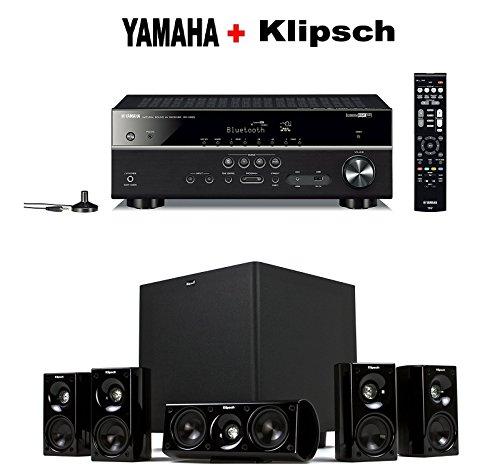 Yamaha Expandable Audio & Video Component Receiver,Black (RX-V483BL) + Klipsch HDT-600 Home Theater System Bundle