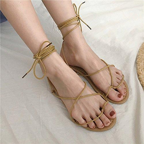 ITTXTTI Sandalias Planas para Mujer, para Verano, Estudiante o Mujer, Zapatos Salvajes de Dos usos, Sandalias de Playa, Color Negro albaricoque