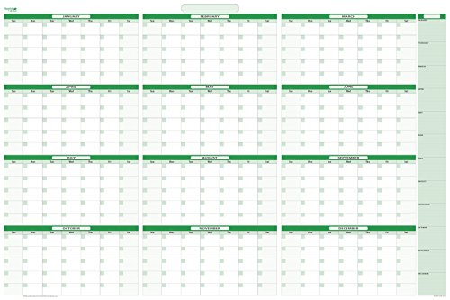 Earth Green Large Undated Yearly Dry-erasesable Wall Calendar with January - December - 32 in. x 48 in. No Ghosting Staining!
