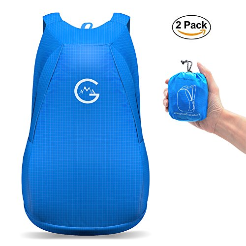 (Packable Backpack, Pack of 2, by Gama - Light Weight, Foldable in Tiny Size, 20L Storage, 30KG Weight Support - For Womens, Men, Kids, Outdoor, Travel)