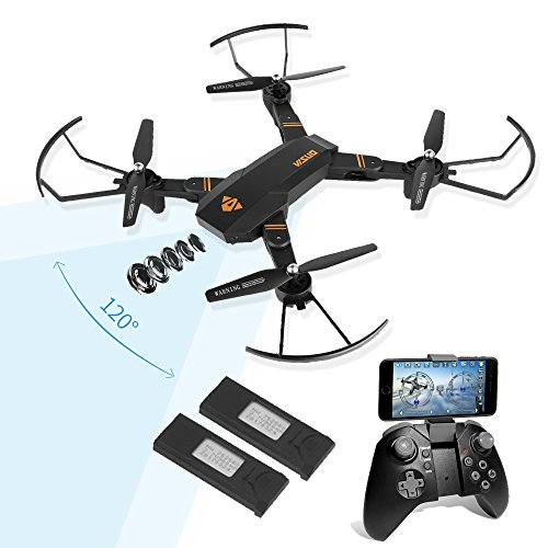 LEANINGTECH XS809H-W-HD 120° Wide Angle 2MP HD Camera Live Video Wi-Fi FPV Foldable RC Quadcopter, 2.4GHz 6-Axis Gyro Remote Control Altitude Hold One Key Return Drone with 2 Batteries