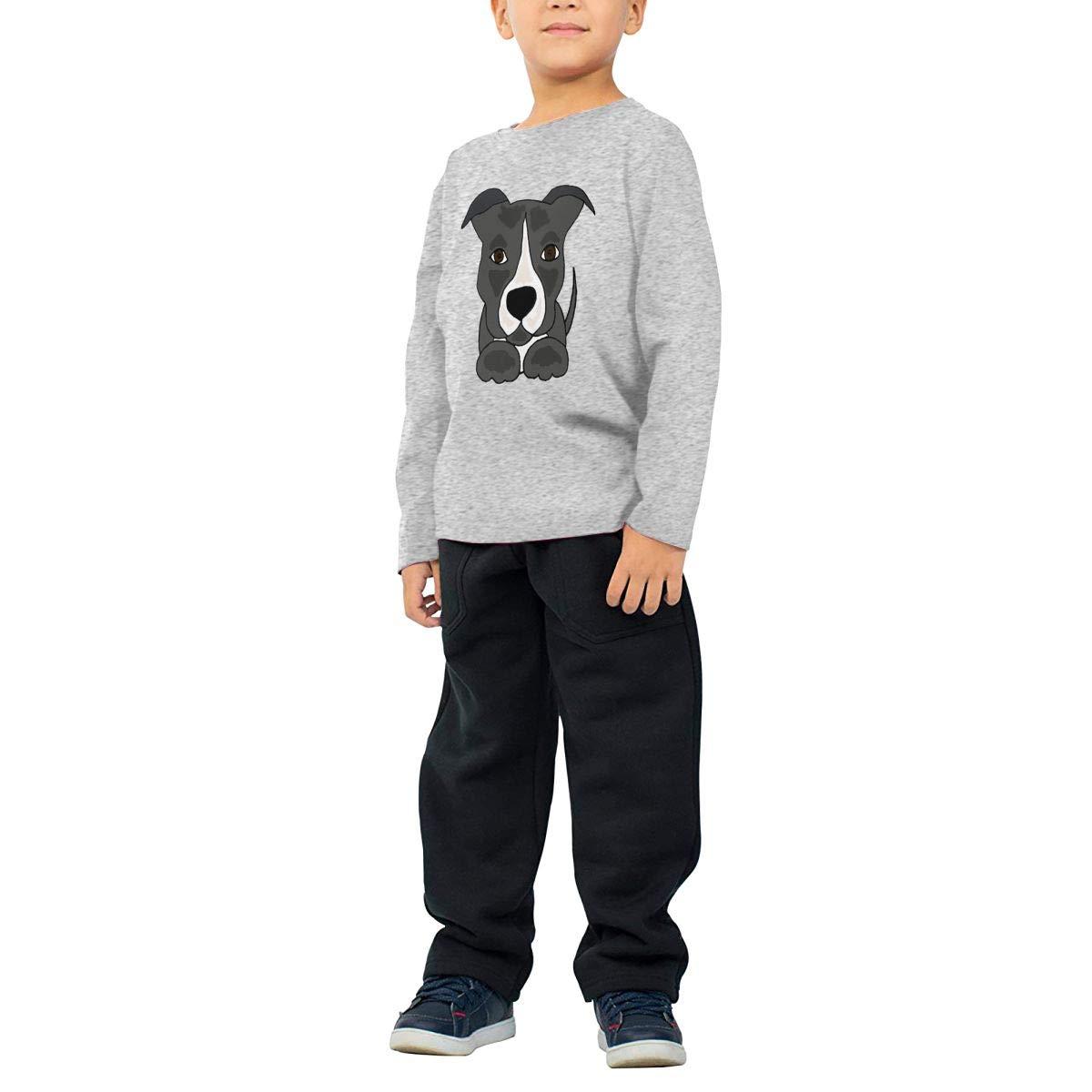 SKYAKLJA Cute Pitbull Puppy Dog Childrens Gray Cotton Long Sleeve Round Neck T Shirt for Boy Or Girl