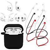 WERO AirPods Case Strong Anti Shock Protective Skin Cover + 3 x Anti-Lost Straps + 3 Pairs x Secure Fit AirPods Ear Hooks Covers Replacement Earbuds, Silicone (Black Color)