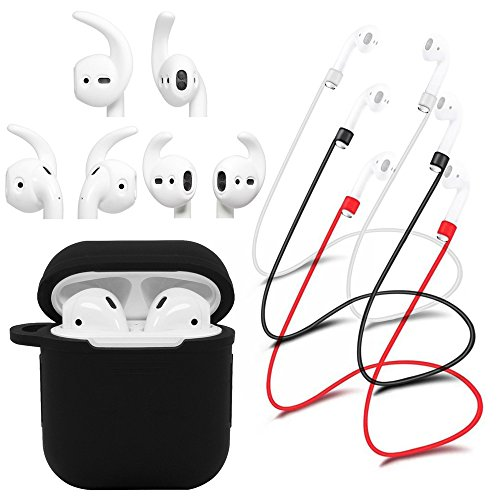 WERO AirPods Case Strong Anti Shock Protective Skin Cover + 3 x Anti-Lost Straps + 3 Pairs x Secure Fit AirPods Ear Hooks Covers Replacement Earbuds, Silicone (Black Color) by WERO