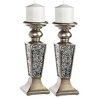 Creative Scents Schonwerk Pillar Candle Set de 2 diseños de mosaicos rajados: decoración de mesa de centro para el hogar Decoraciones Centro de mesa para comedor /sala de estar: el mejor regalo de boda (plateado)