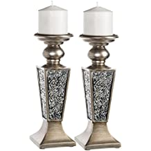 Creative Scents Schonwerk Pillar Candle Holder Set of 2- Crackled Mosaic Design- Functional Table Decorations- Centerpieces for Dining/Living Room- Best Wedding/Anniversary Gift (Silver)